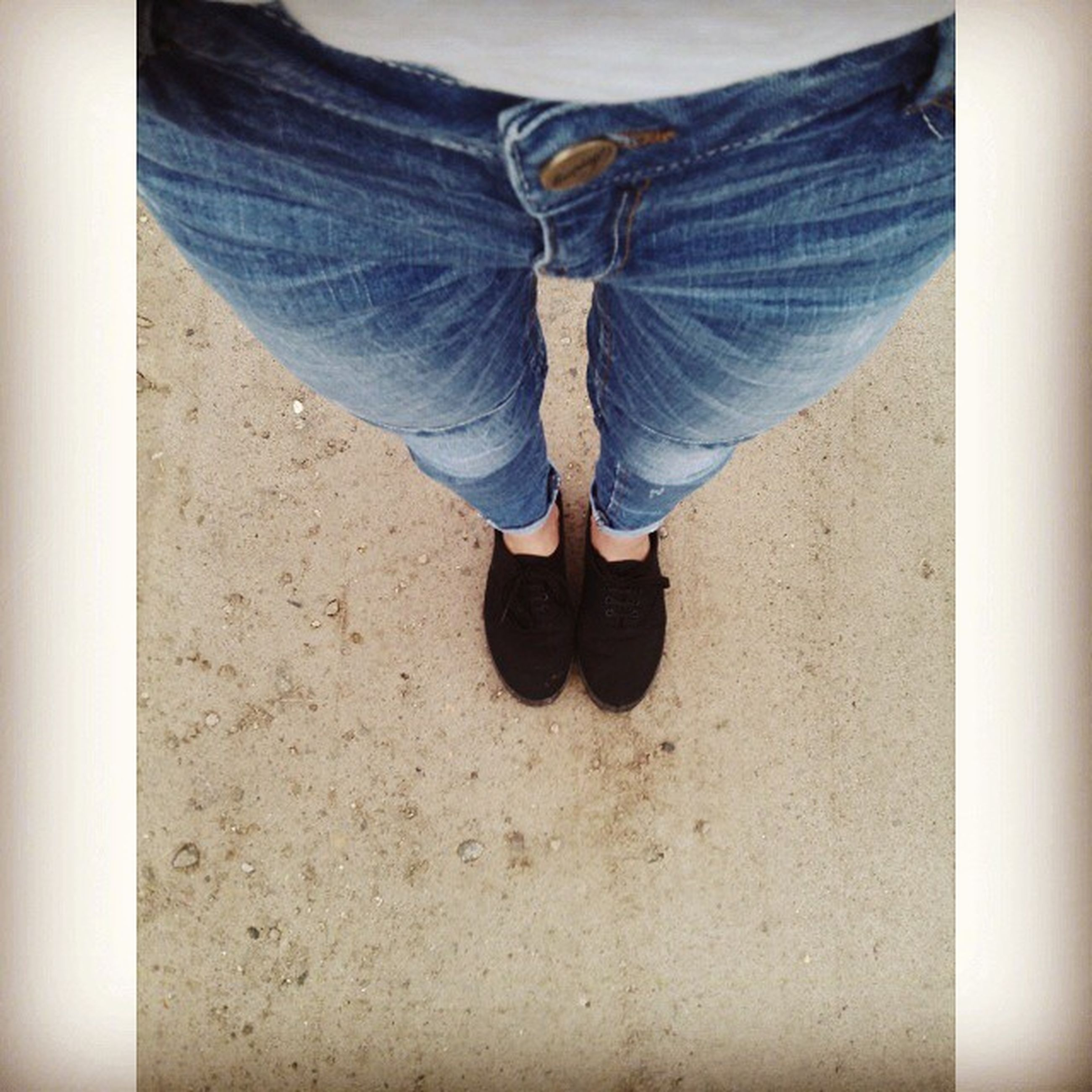 low section, person, lifestyles, standing, shoe, casual clothing, men, jeans, leisure activity, rear view, transfer print, footwear, walking, auto post production filter, day, human foot