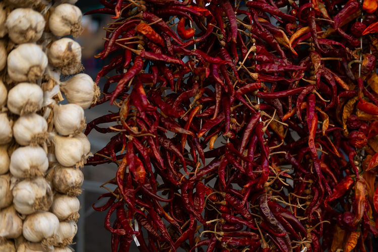 Red hot chili pepper and garlic Spice Food And Drink Large Group Of Objects Food Abundance Chili Pepper Still Life Pepper Garlic Vegetable Market Red Chili Pepper Ingredient Red No People For Sale Healthy Eating Variation Sale Garlic Clove Retail Display Wellbeing Retail  Market Organic Food