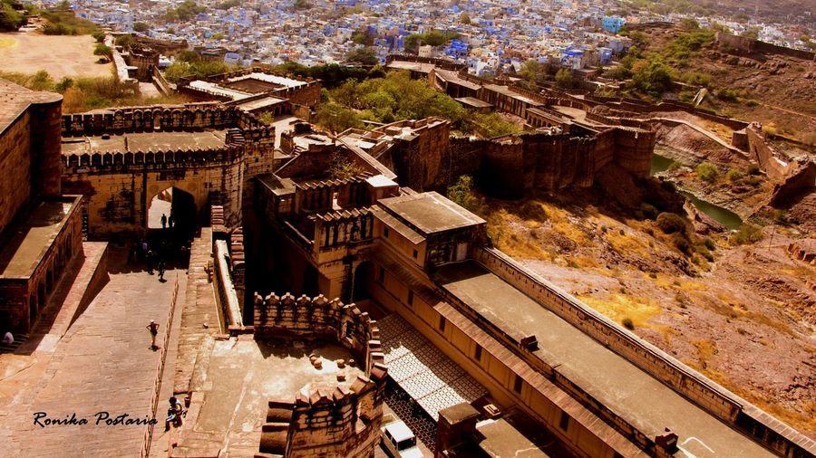 High Angle View Building Exterior Architecture Outdoors Large Group Of People Cityscape People Travel Destinations Historic Building Jodhpur Fort Majestic Looking Down Flying High Colour Your Horizn