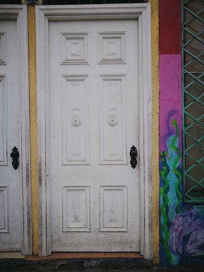 Door Multi Colored Architecture Wood - Material Iquique, Chile.