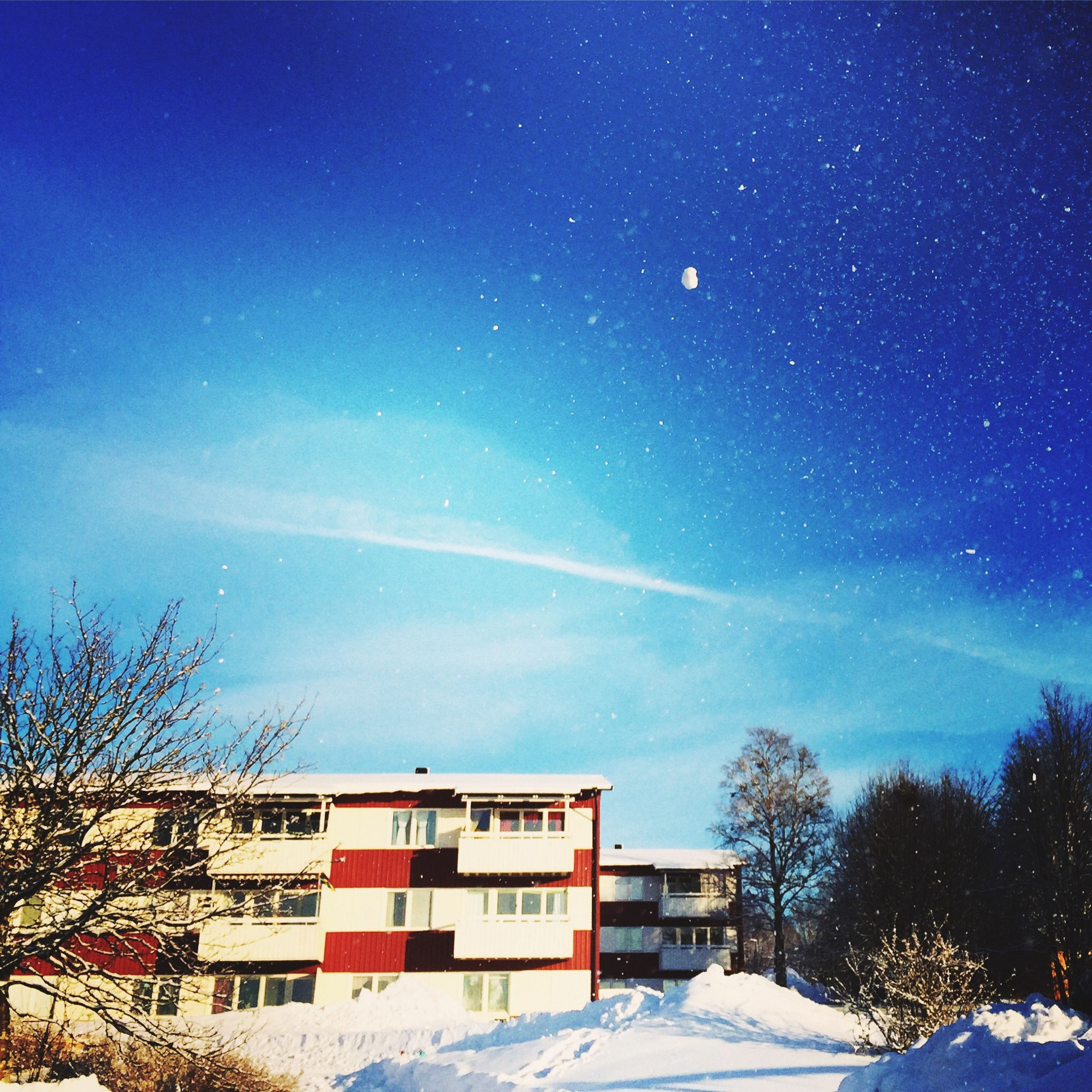 snow, building exterior, winter, architecture, cold temperature, built structure, house, blue, tree, residential structure, sky, season, residential building, bare tree, weather, nature, covering, landscape, clear sky, outdoors