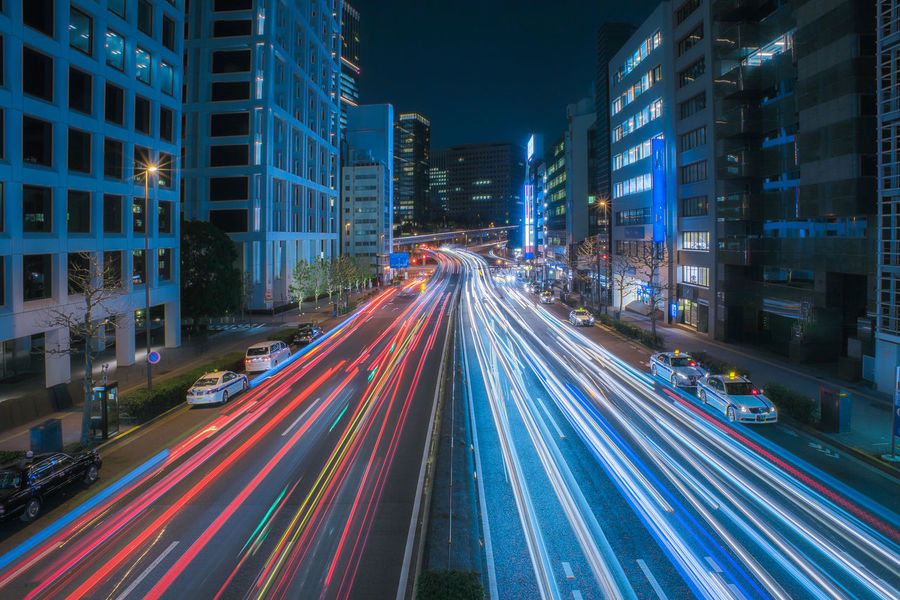 Busy traffic in metropolis. Colour Your Horizn Japan Tokyo Architecture Blurred Motion Building Exterior City City Life City Street Future High Angle View High Street Illuminated Light Trail Long Exposure Motion Night No People Outdoors Road Speed Street Street Light Traffic Transportation