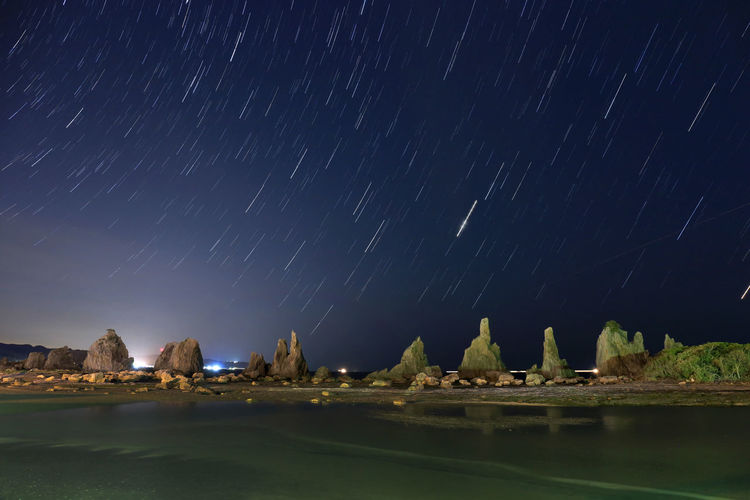 landscape japan wakayama Star - Space Night Long Exposure Astronomy Space Sky Star Trail Water Scenics - Nature Star Beauty In Nature No People Star Field Nature Motion Galaxy Rock Infinity Built Structure Waterfront