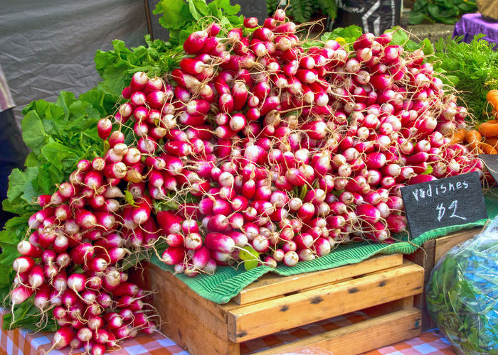 Radishes for sale at Lonsdale Quay market in North Vancouver B.C. Market North Vancouver,BC Lonsdale Quay Canada Radishes Flower Flower Head High Angle View Red For Sale Plant Close-up