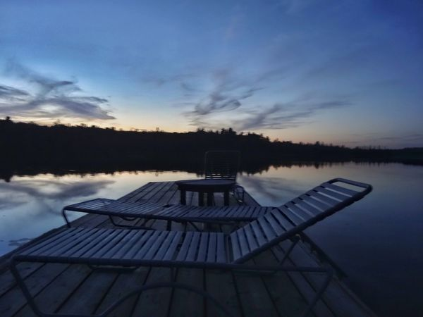 Sky Water Nature Sunset No People Tranquil Scene Outdoors Tranquility Lake Beauty In Nature Good Times Good Life Relaxation Lawnchairs Algonquin Park Algonquinprovincialpark Canada Canadian Lifestyle Canada Coast To Coast
