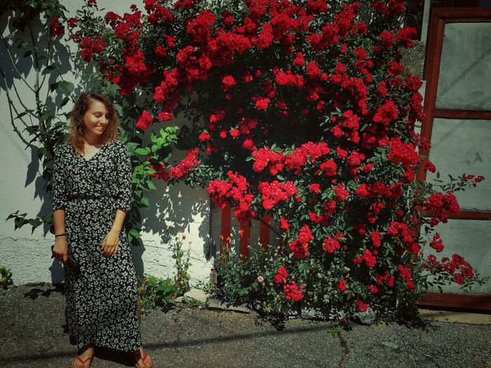 Women With Flower Women Model Beauty In Nature Red Beautiful Flower Childhood Child Smiling Happiness Cheerful Red Standing Girls Blooming Growing Flower Head Petal In Bloom Growth