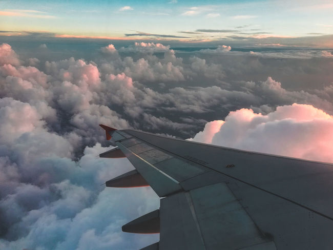 My first flight ... Travel Transportation Window Seat Nature Flight India Clouds Dusk Above Mobilephotography Honor7x Technology Airplane Flying RISK Sunset Sky Cloud - Sky Aircraft Wing Vapor Trail Air Vehicle Power In Nature Aerial View Formation Flying Lightning