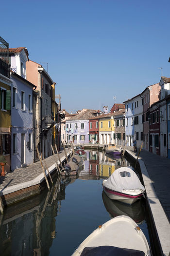 Architecture Building Exterior Built Structure Burano, Italy Burano, Venice Canal City Clear Sky Colorful Day Gondola - Traditional Boat House Island Laguna Nautical Vessel No People Outdoors Painted Houses Residential Building Sky Venice, Italy Water