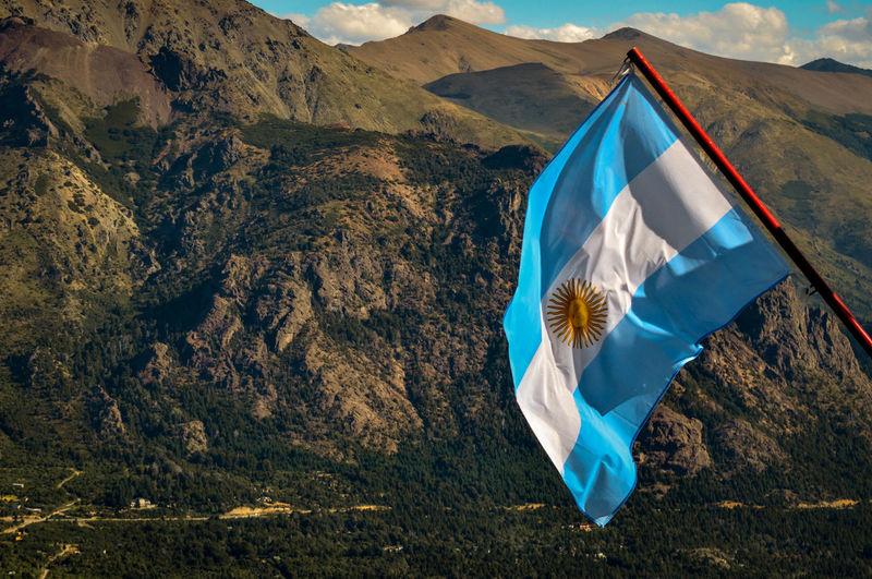 Flag Argentina Mountain Tree Wind Sun Cloud Land
