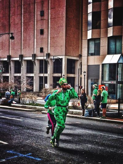 ...of Saints and 'sprinters'✨🍀👼🏼🏃🏻👼🏼🍀✨...or I 'mitre'✨👑🎩 have seen a Saint roll by✨😉 Tadaa Community Taking Photos Roadrace Shamrock Suit Getting Inspired Running Connecticut Nothingisordinary Green