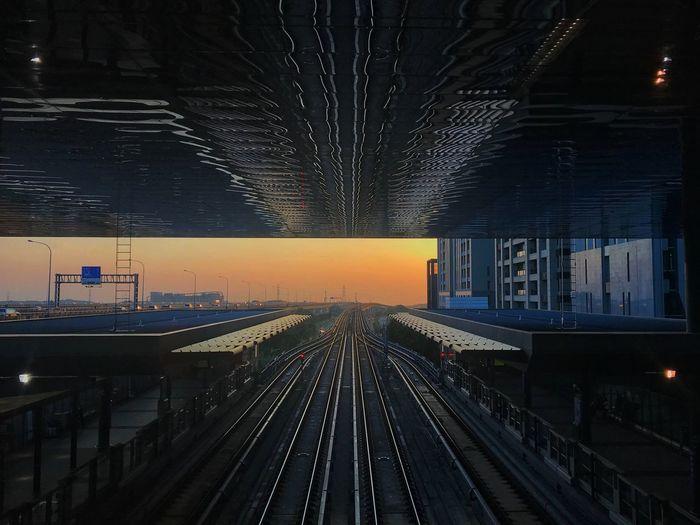 桃機捷運林口站的晚霞 Rail Transportation Track Railroad Track Transportation Illuminated Public Transportation Architecture