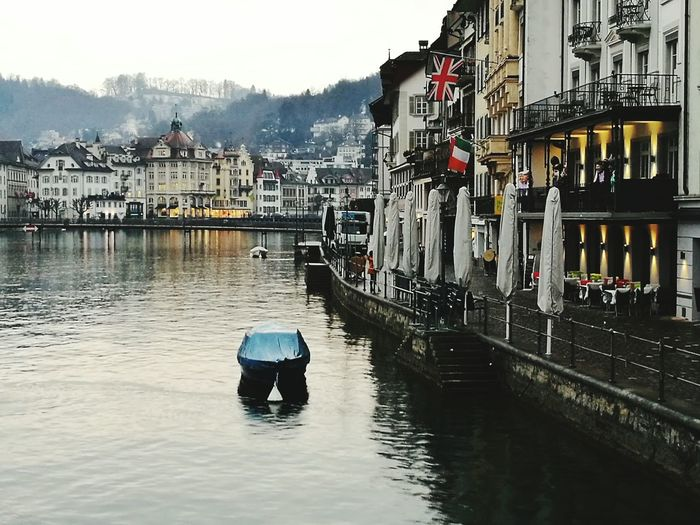 View of boat in city