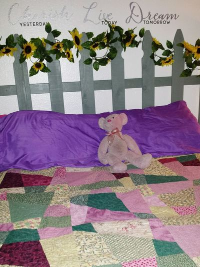 Pastel Power Hand Made Quilt Hand Made Headboard Comfort Bear