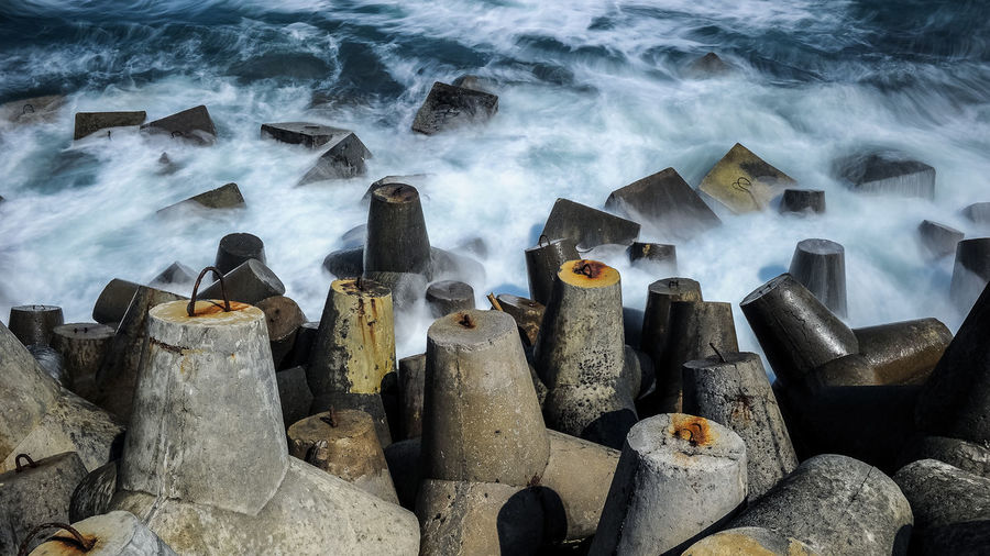Glagah beach Day Flowing High Angle View Industry Motion No People Outdoors Power In Nature Sea Shore Stone - Object Water Wave