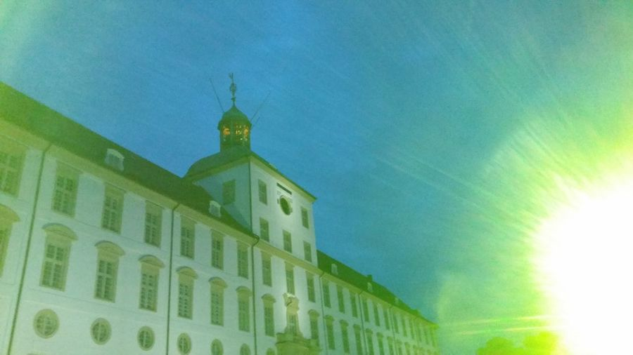 Architecture Building Exterior Built Structure Sky Green Color Dramatic Sky Openair Concert Schleswig Schleswig-Holstein Schloß Gottorf Museums Outdoors No People Night Architecture Nofilter Light Lights Lightshow Openair
