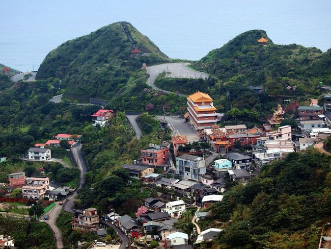 Aerial view of Jinguashi, Jiufen's sister town and the real historical heart of the area. Japanese Colonial Era Jinguashi Jinguashih Kinkaseki Taiwan Architecture Building Exterior Built Structure City Day High Angle View Jiufen Mountain Nature No People Outdoors Residential Building Tree