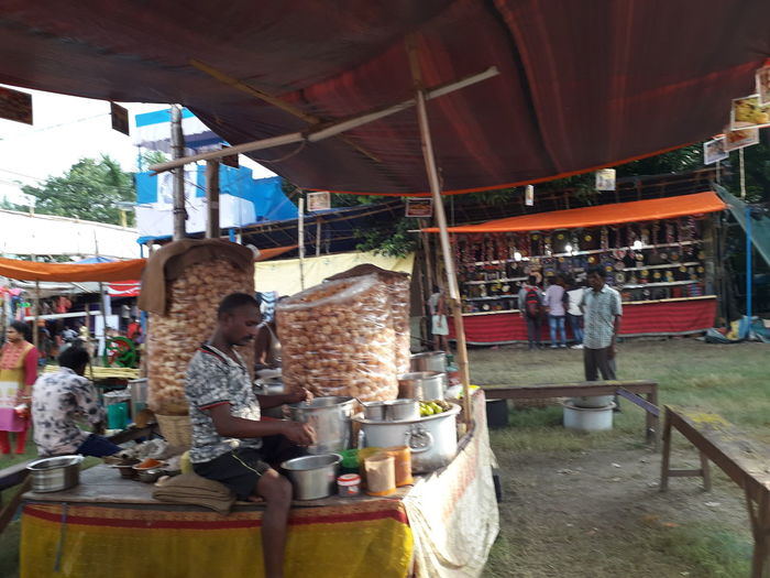 People at restaurant market