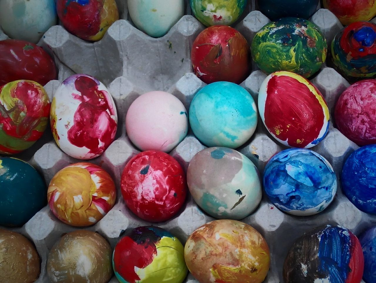 Detail shot of easter painted eggs
