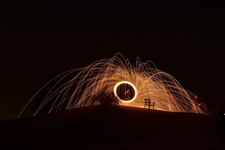 Light painting EyEm Light Painting Night Illuminated Copy Space Sky No People Glowing Motion Orange Color Long Exposure Outdoors Arts Culture And Entertainment