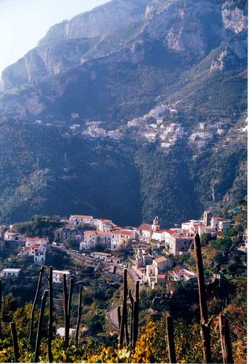 Amalfi Coast vineyard This Week On Eyem Vacation No Cars  Tranquil Scene No Peopes Homes Build Into Side Of Hill Grape Vines Growing On The Hill Behind The House City Built Into City