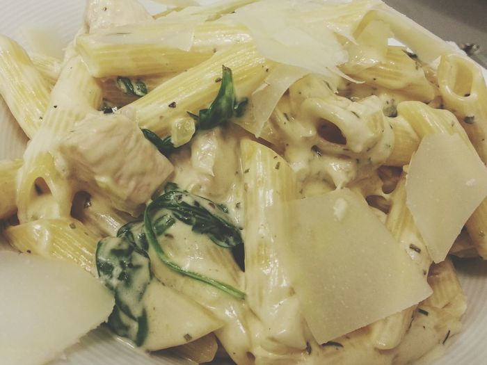 Chickenbreast Penne Cremefraiche Rosemary Spinach Dinner