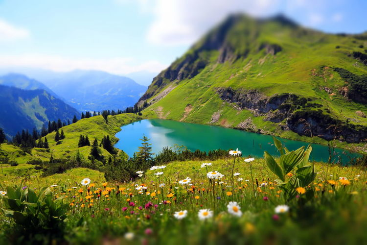 Seealpsee a high mountain lake in the bavarian alps