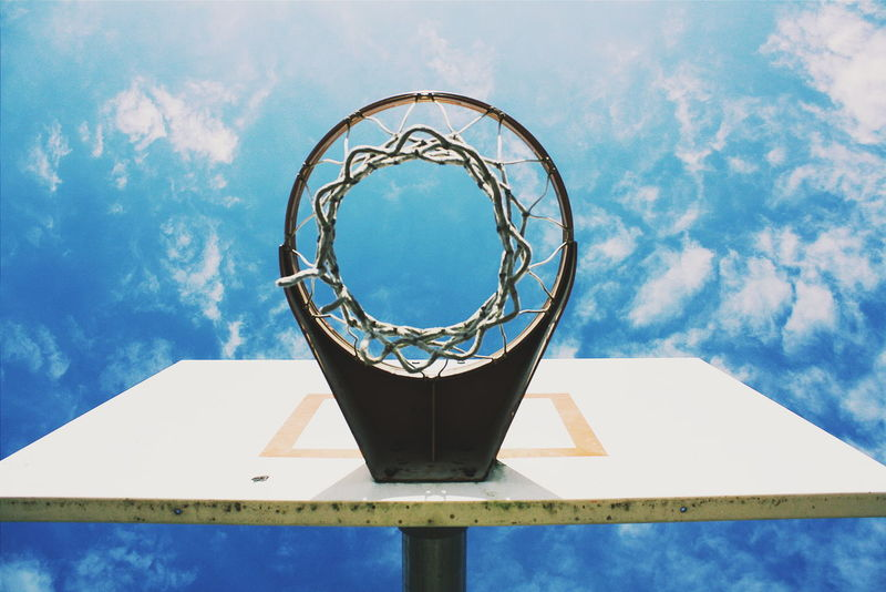 Basketball Basketball Hoop Beneath Underneath Looking Up Sky Blue Sky Looking Through Sky And Clouds Clouds And Sky Clouds Blue