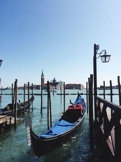 Gondola moored in venice
