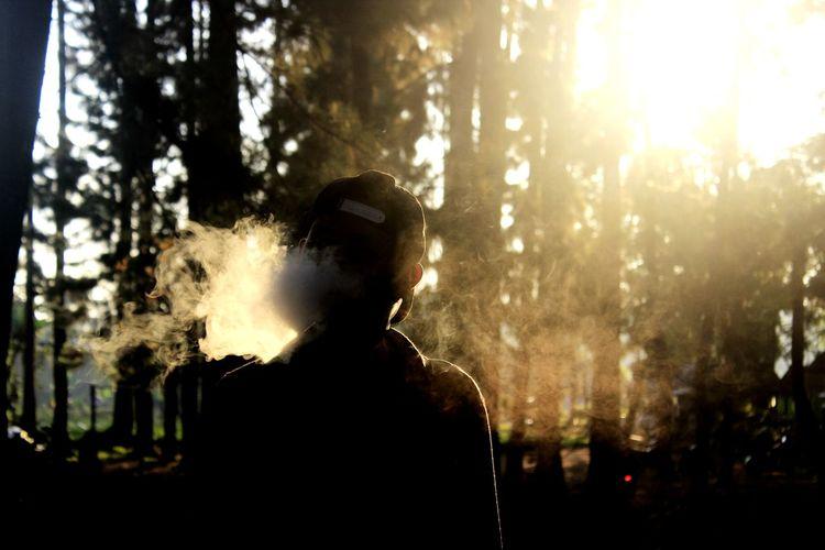 full of freedom Dusk Light Dusk Afternoon Majalengka Tree Silhouette Standing Motion Sunlight Headshot Happiness