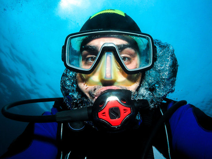 Underwater scuba diver making self portrait or selfie. Having fun underwater in Adriatic Sea - Croatia. Diver Fun Mask Photo Portrait Regulator SCUBA Scuba Diver Self Portrait Selfie Underwater Underwater Photography