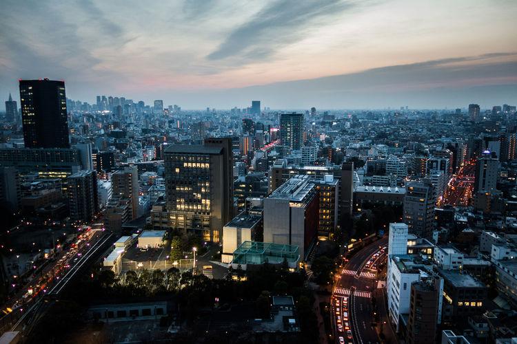 High angle view of tokyo at dusk