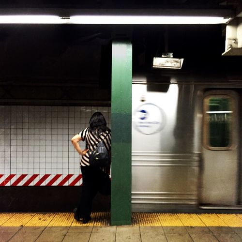 Colleen Full Length Motion Transportation Rear View Public Transportation Casual Clothing Lifestyles Railroad Station Standing Leisure Activity On The Move Walking Night Mode Of Transport Travel Railroad Station Platform Blurred Motion Subway Station Person City Life Street Photography NYC EyeEm Best Shots This Week On Eyeem New York City