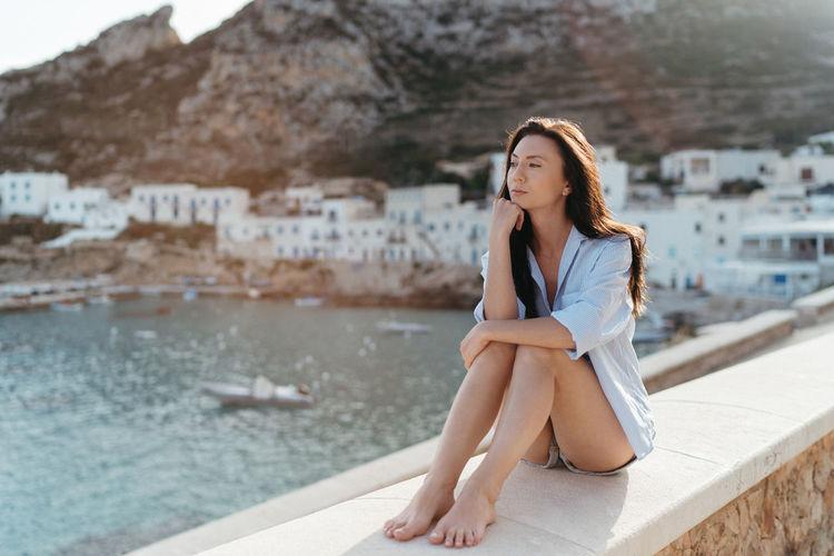 Girl relaxing in levanzo, sicily