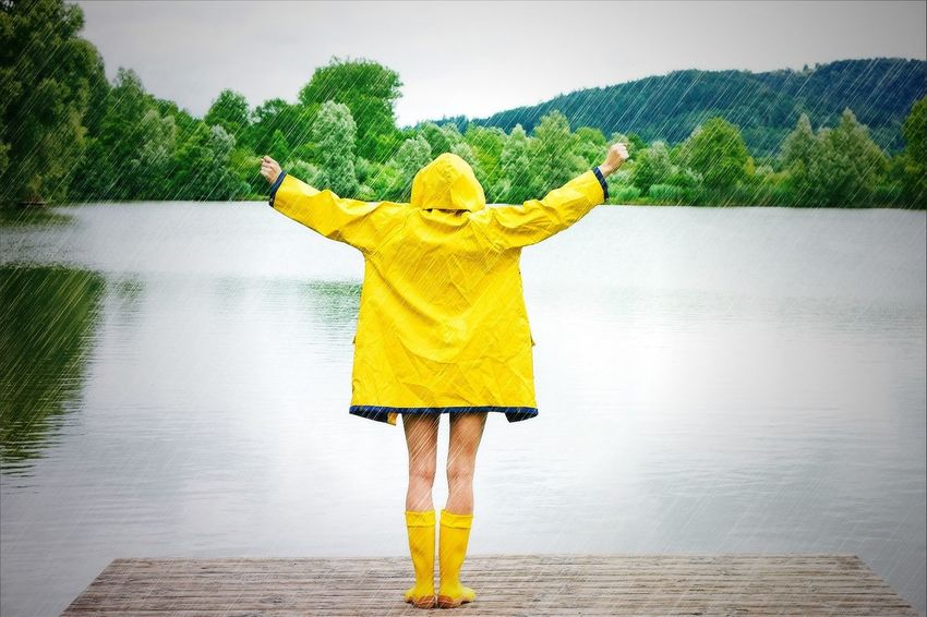 Girl enjoy the rain Woman Rain Happy Raincoat Raised Arms Girl Healthy Weather Report Rubber Boots Health Care Spring Water Spring Immune System Hapiness Naked Back Wellbeing Freedom Success Fitness Lifestyle