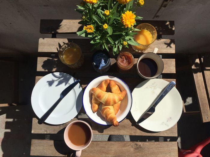 Al Fresco Balcony Summer Croissant Food And Drink Drink Freshness Table Food Cup Refreshment Flowering Plant Flower Coffee Cup Coffee - Drink Coffee Plate Breakfast Plant Directly Above Meal Ready-to-eat Mug Still Life