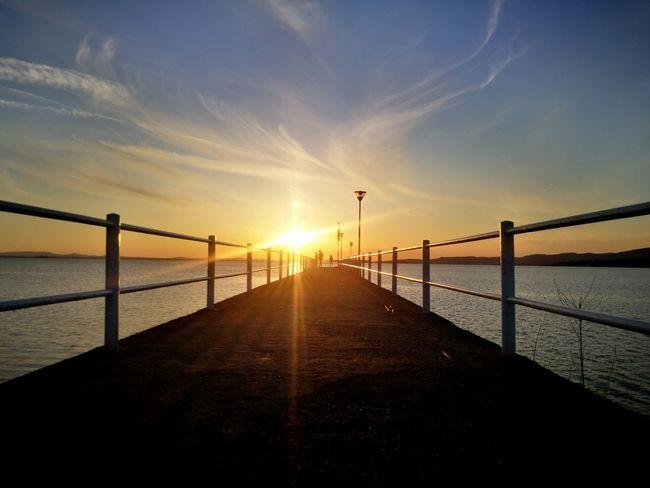 Road to the sun Cloud - Sky Cloud Spring Springtime Lake Water Sunset Horizon Sunlight Sun Bridge - Man Made Structure Sky Pier Romantic Sky