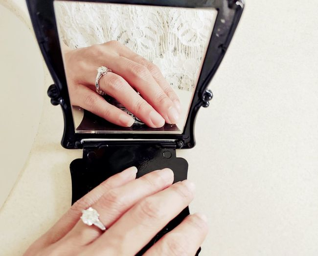 Close-up of woman hand reflection in mirror