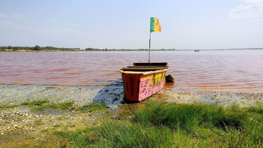 Water Sea Beach Nature Senegal Outdoors Nature Lac Rose Pink Lake Flag Barque Boat