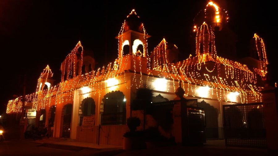 Gurudwara Fair Bright Decorations With Light Night Celebration No People City Architecture Building Exterior Black Background Beautiful