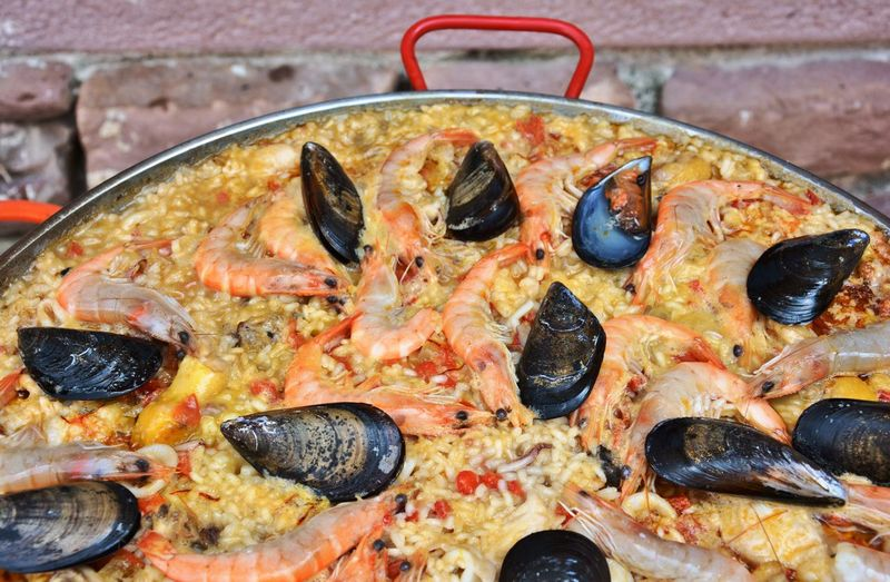 Delicious spanish paella with seafood