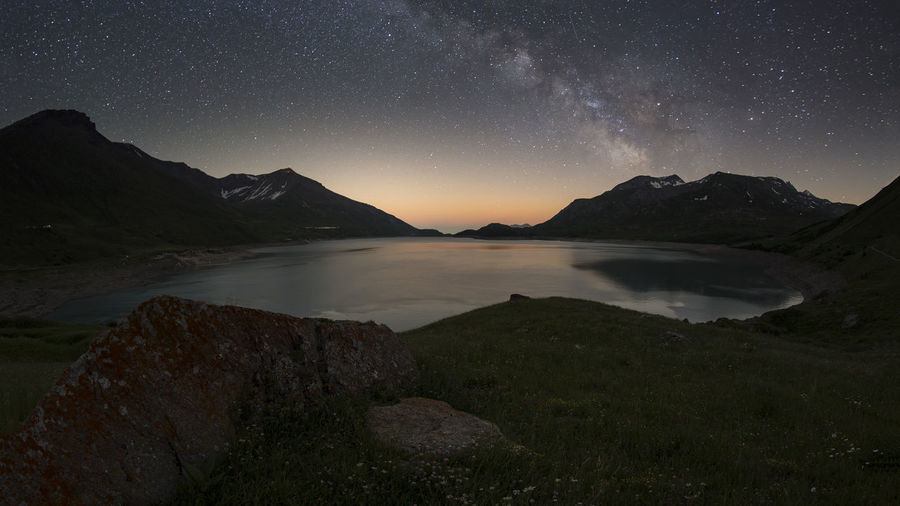 milkyeay over alpine lake of moncenisio Alpine Astronomy Beauty In Nature Galaxy Lake Milky Way Moncenisio Mountain Nature Night No People Outdoors Scenics Sky Space Star - Space Tranquil Scene Tranquility Water