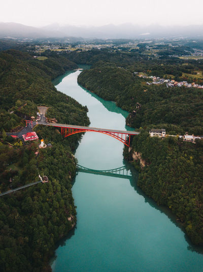 Landscape Sky Outdoors Green Color Water Architecture High Angle View Built Structure Nature Tree No People Day Reflection Plant Beauty In Nature River Scenics - Nature Tranquility Blue Bridge Drone  Aerial View Cloud - Sky