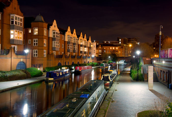 Birmingham canal scene at night Architecture Canal Canal Boats City Cityscape Dusk House Illuminated Night Outdoors Roof Town Urban Skyline