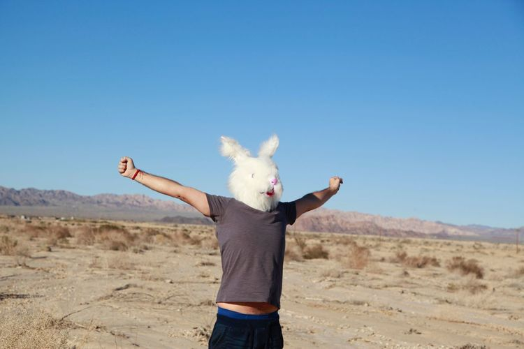 Man With Arms Outstretched Wearing Rabbit Mask On Field