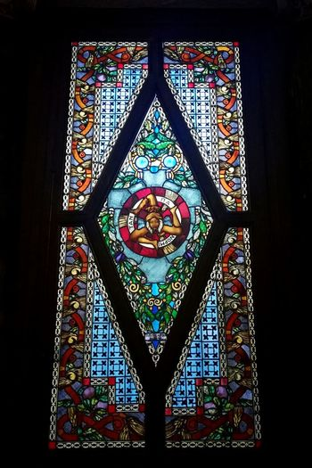 T r i n a c r i a. Stained Glass Art Trinacria Sicilia Window Sicily Bright Colors Arch Palermo Museum Italy EyeEm Selects Multi Colored Pattern Window Black Background Close-up Architecture Stained Glass Architecture And Art Mosaic Architectural Detail Decorative Art Architectural Feature