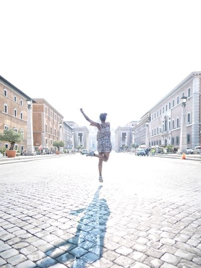Jumping Rome Italy Streetphotography People Via Della Conciliazione Vatican Happiness City Full Length Sky Architecture Cobblestone Clear Sky A New Beginning Capture Tomorrow 17.62° International Women's Day 2019 The Art Of Street Photography