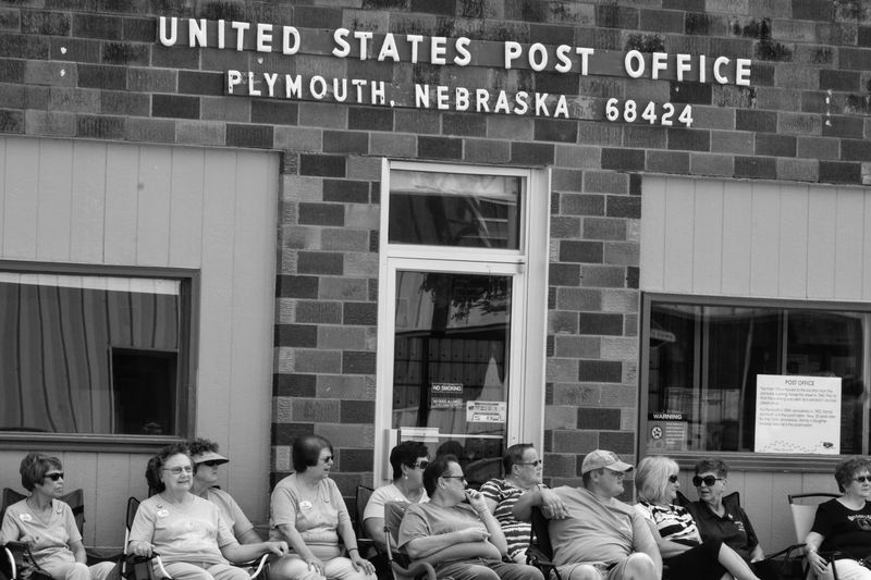 Village of Plymouth 125th Anniversary Celebration August 13, 2017 Plymouth, Nebraska Americans Community EventPhotography EyeEm Gallery MidWest Nebraska Plymouth, Nebraska Small Town America Storytelling Summertime Takumar 135mm F3.5 Adult Adults Only Architecture Building Exterior Built Structure Crowd Day Fujifilm_xseries Large Group Of People Manual Focus Men Monochrome Outdoors Parade People Post Office Practicing Photography Real People Small Town Small Town Stories Streetphotography Text Women
