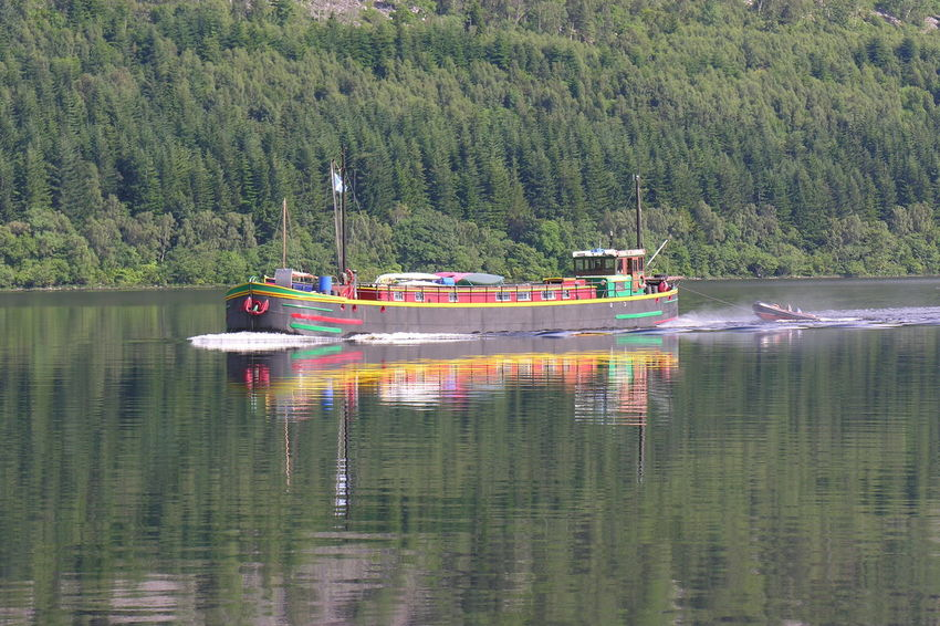 Nautical Vessel Transportation Mode Of Transport Water Reflection Boat Nature Lake Outdoors Scenics Tranquility Sailing Caledonian Canal Multi Coloured