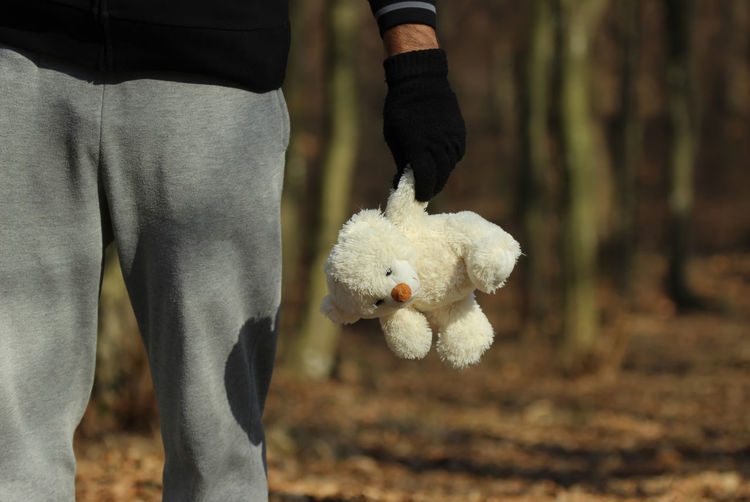 Kidnapper Children Crime Kidnapping Missing Victim Wood Abduction Abuse Child Childhood Concept Holding Human Body Part Human Hand Kidnapper Maniac One Person Outdoor Outdoors Psychopath Slave Stuffed Toy Teddy Bear Toy Violence