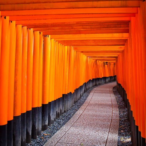Orange Torii Gates Entrance Of Fushimi Inari-Taisha